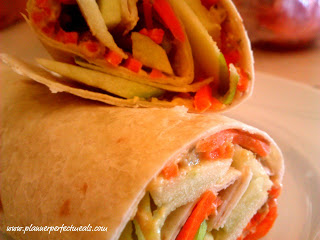 Hummus Apple and Carrot Wraps