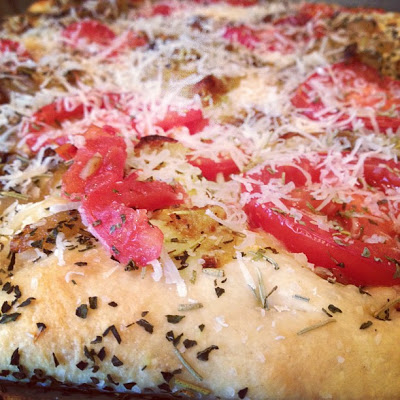 Focaccia Herbed Pizza with Caramelized Onion and Tomato