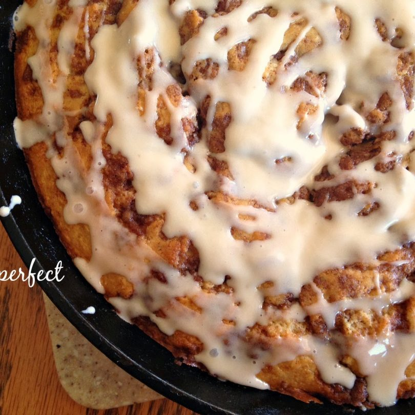 Brown Butter Cinnamon Roll Skillet Cake