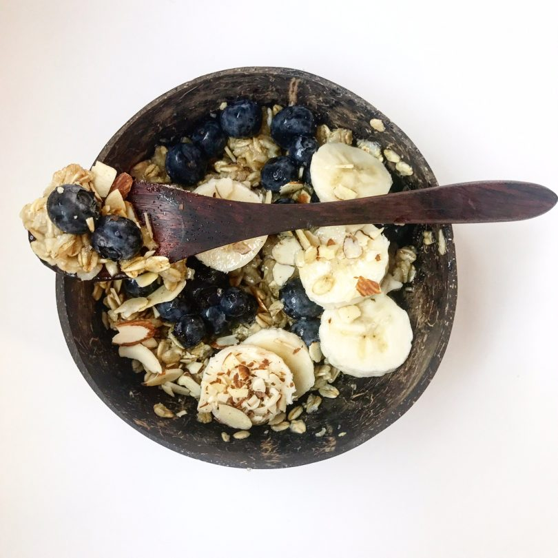 Vegan Oatmeal with Blueberries, Bananas and Slivered Almonds