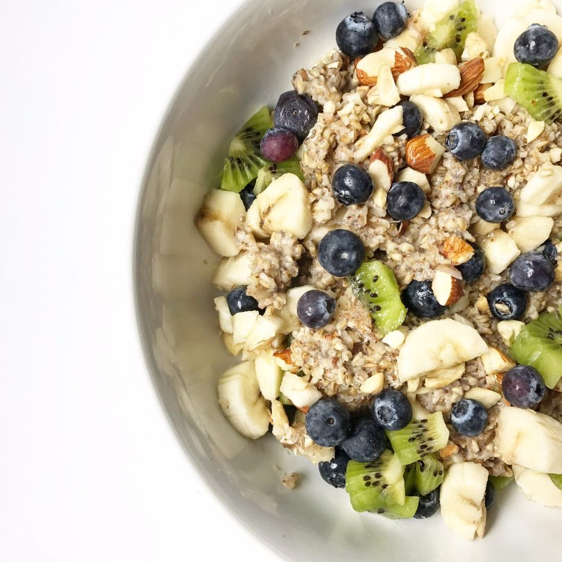 vegan steel cut oats with fruit and nuts