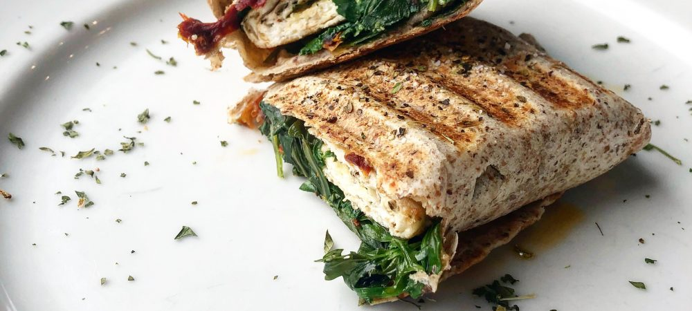 Skinny Spinach, sun dried tomato and Egg White Wrap