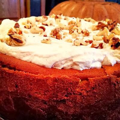 Pumpkin Brown Sugar Cheesecake with Chocolate Shortbread Crust