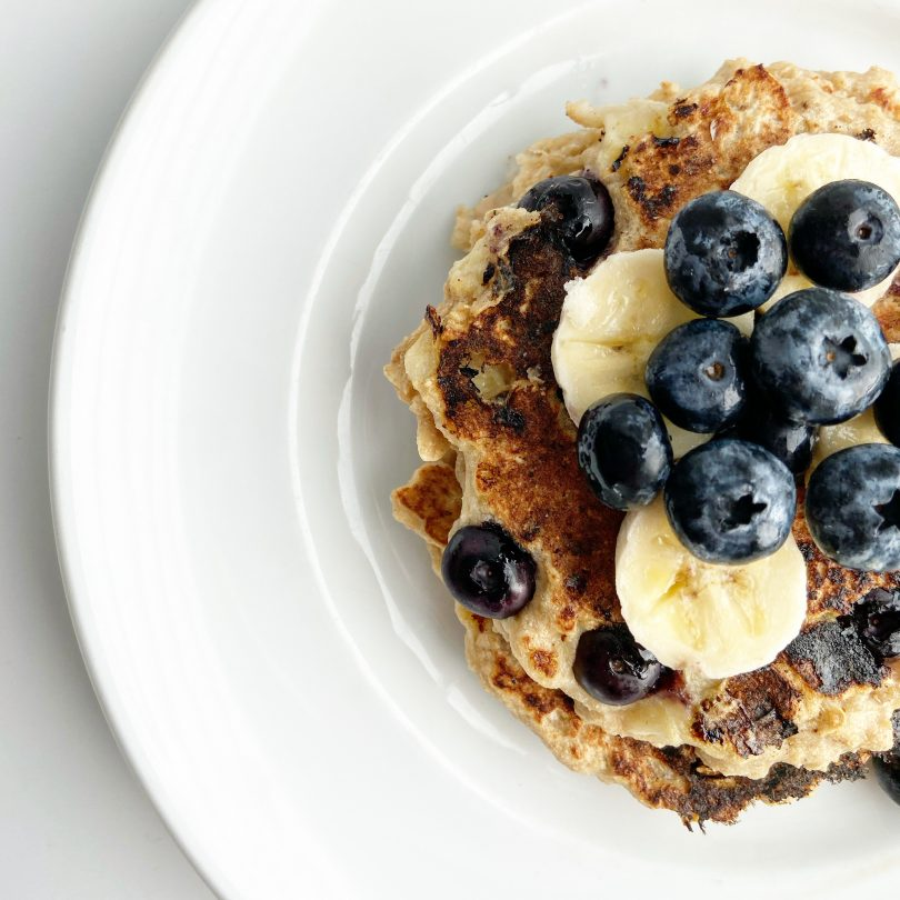Vegan Banana Oat Blueberry Pancakes